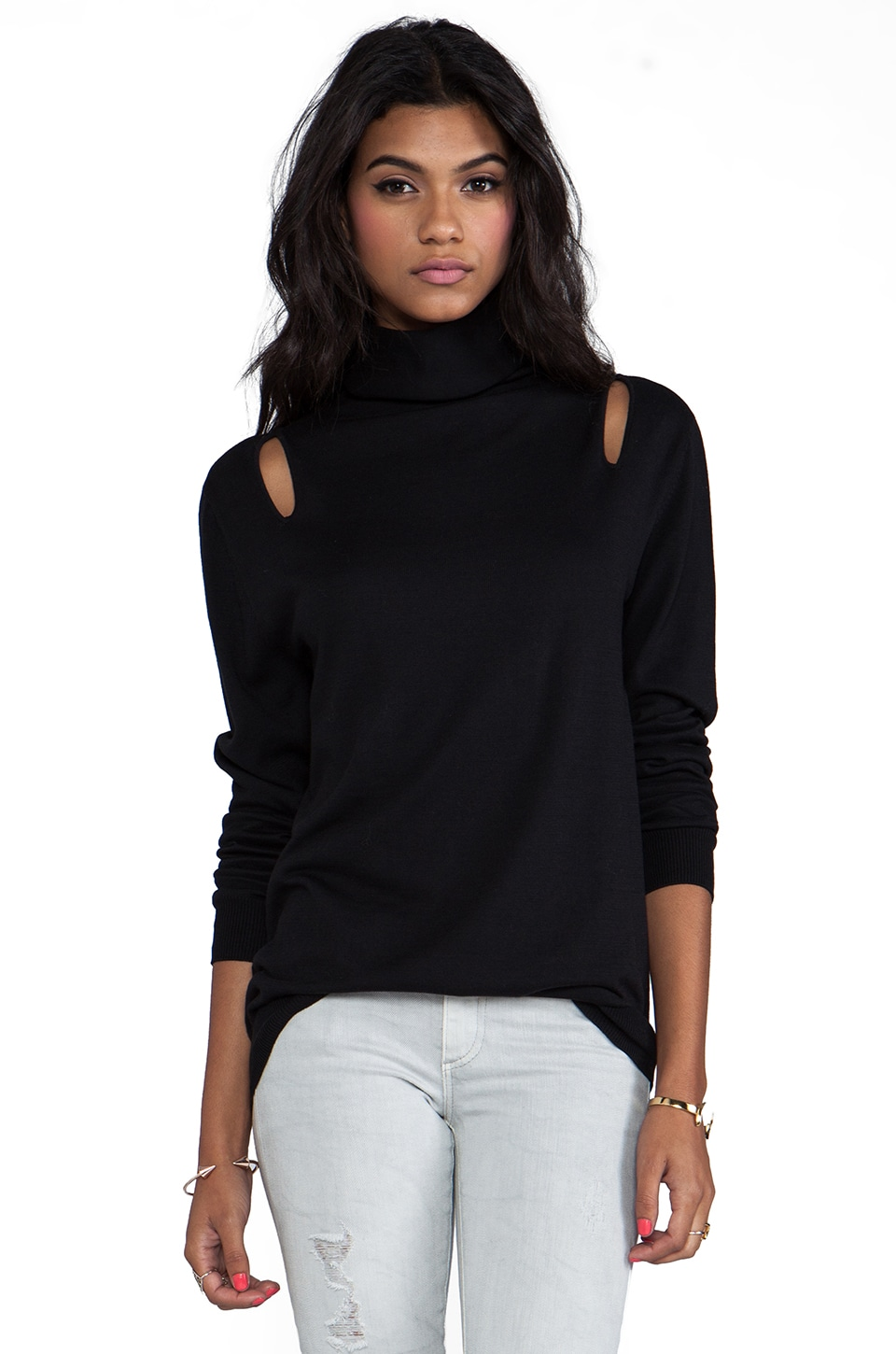 Tibi Basic Cut Out Slim Turtleneck in Black