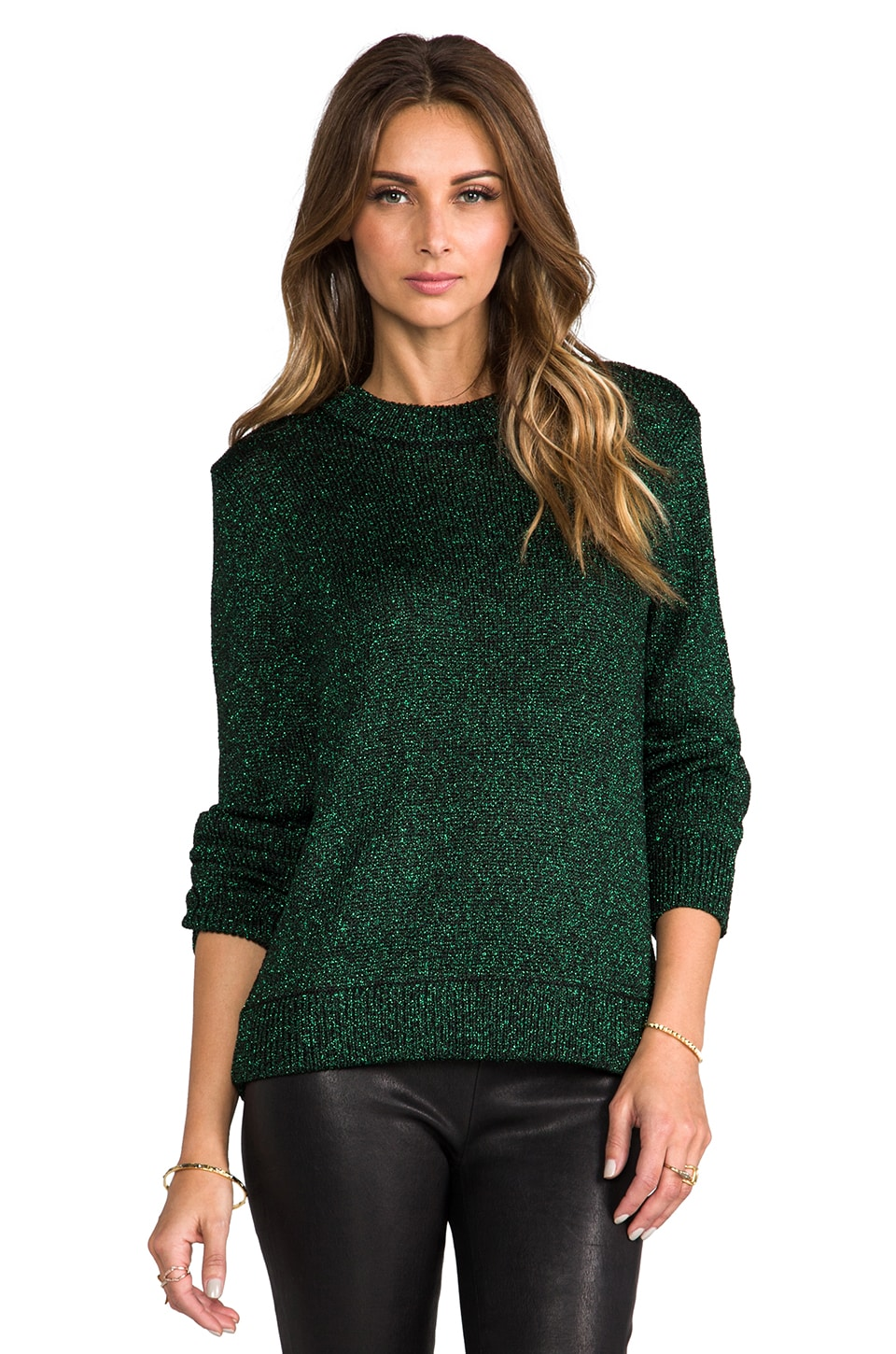 Tibi Chunky Lurex Sweater in Emerald