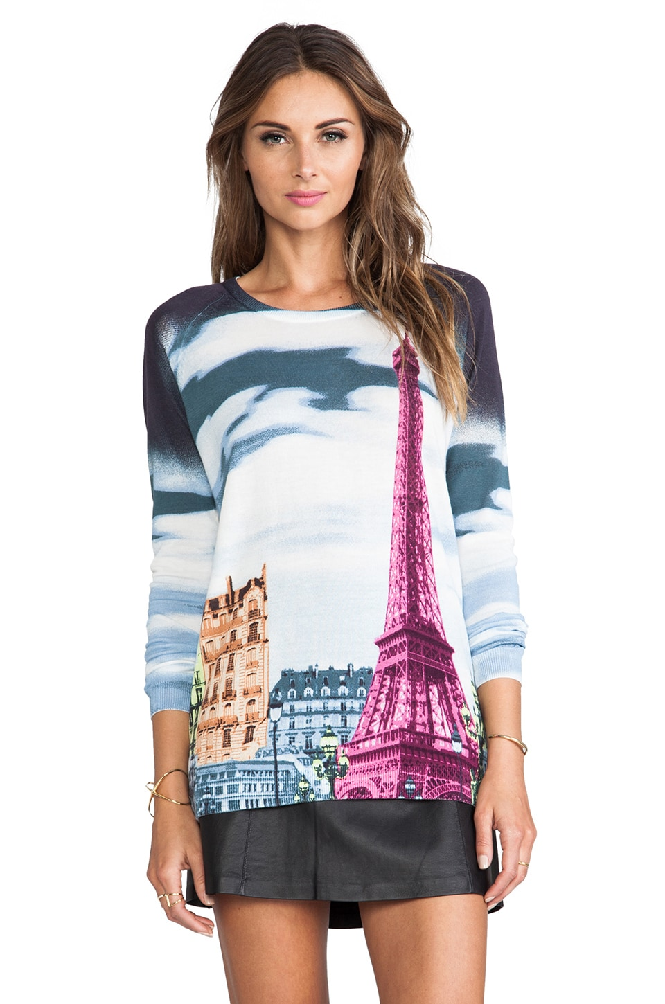 Tibi Eiffel Tower Printed Raglan Sweater in Black Multi