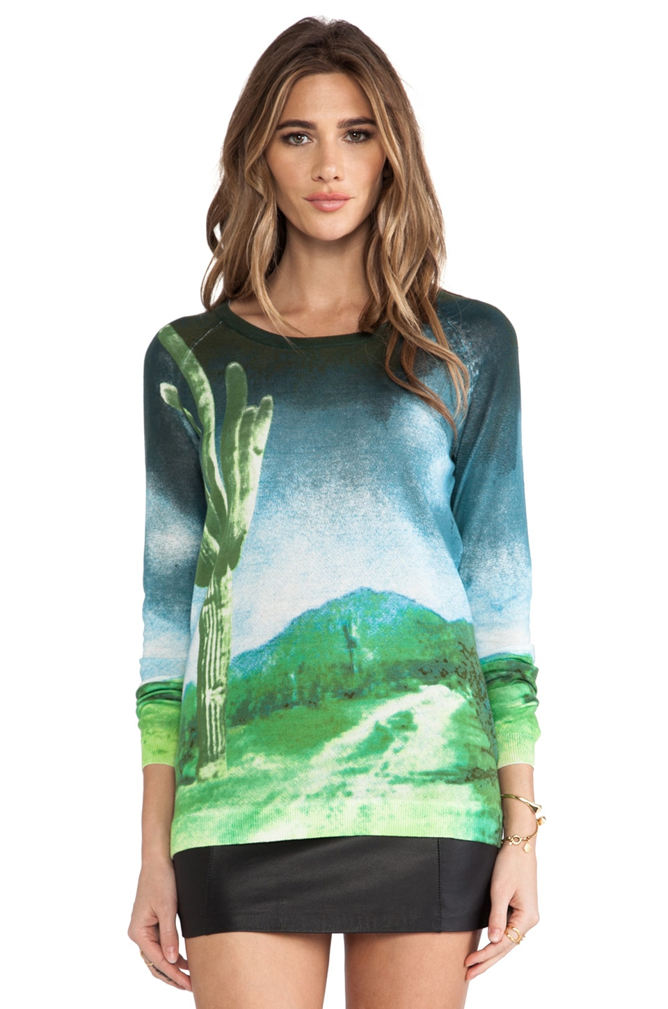 Tibi Saguaro Sweater in Peridot Multi