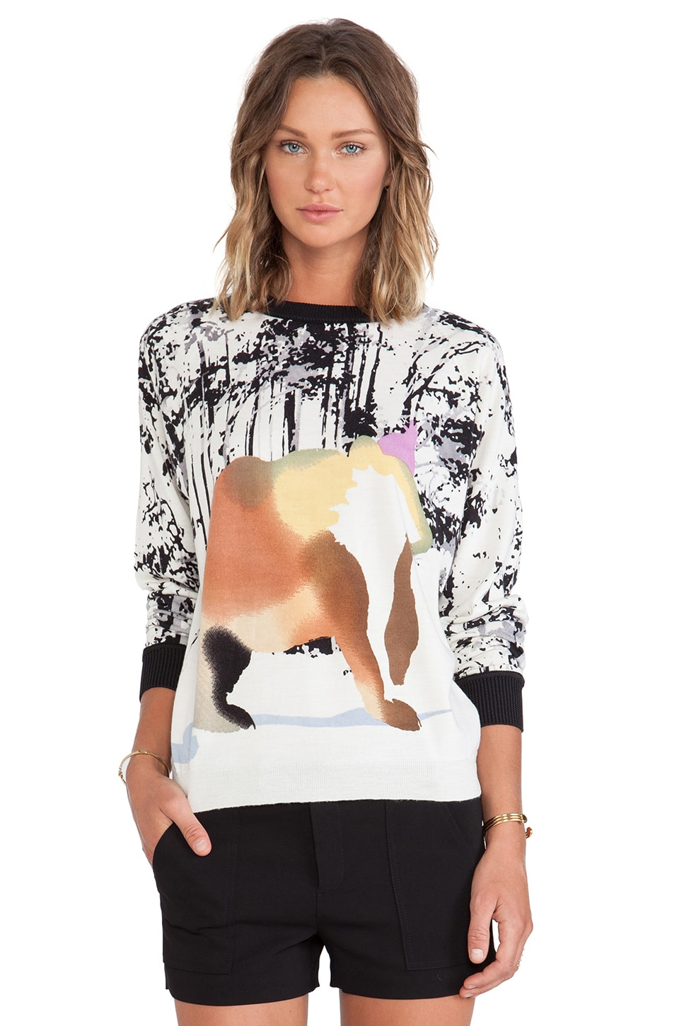 Tibi Forest Bear Print Sweater in Cream Multi