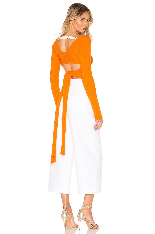 Tibi Ribbed Wrap Sweater in Tangerine