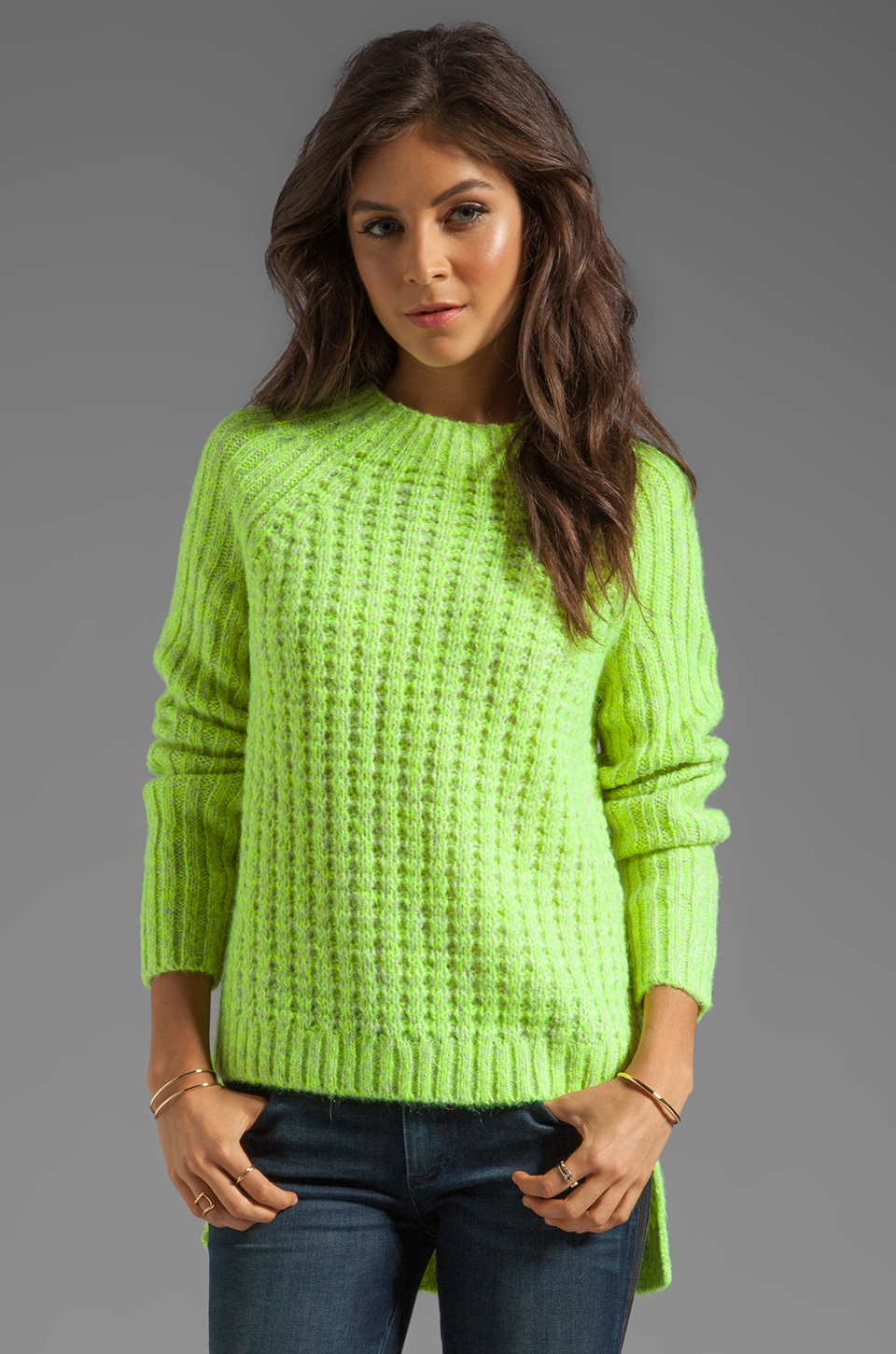 Tibi Waffle Knit Asymmetrical Sweater in Chartreuse Melange