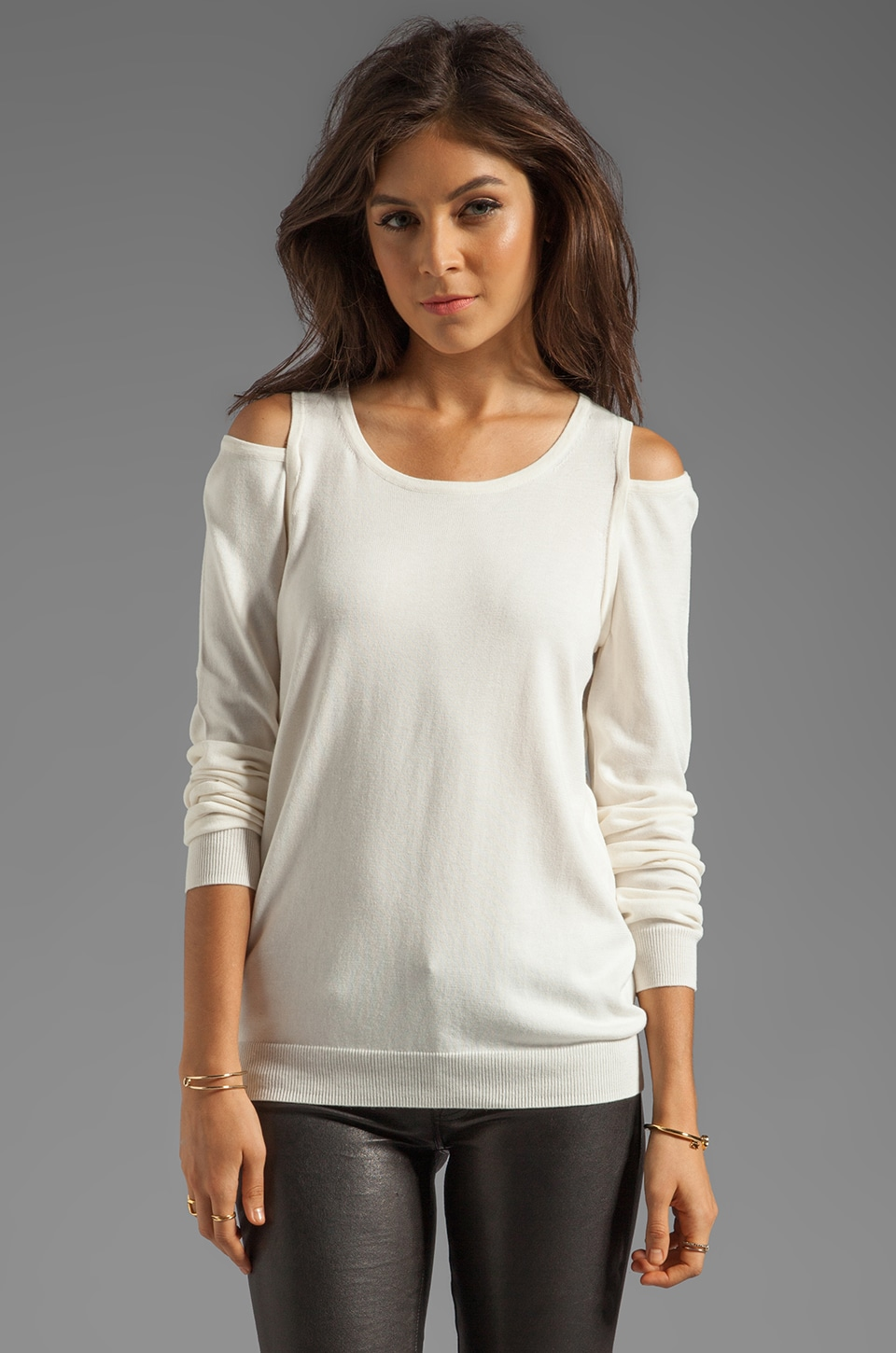 Tibi Basic Cut Out Knit Sweater in Almond