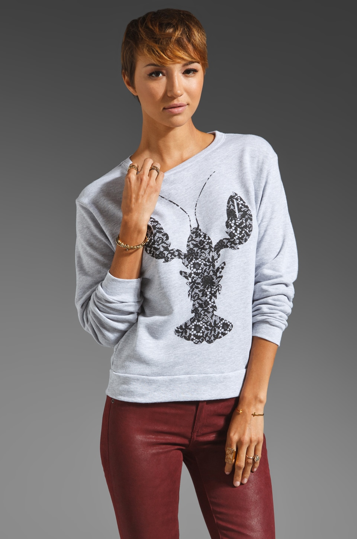 Tibi Lobster Lace Sweatshirt in Heather Grey