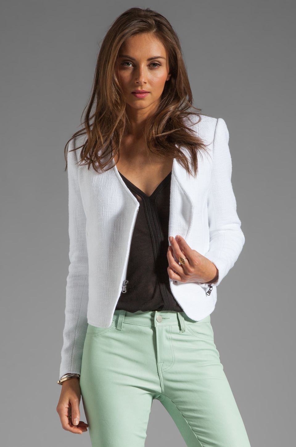 Tibi Basketweave Jacket in White