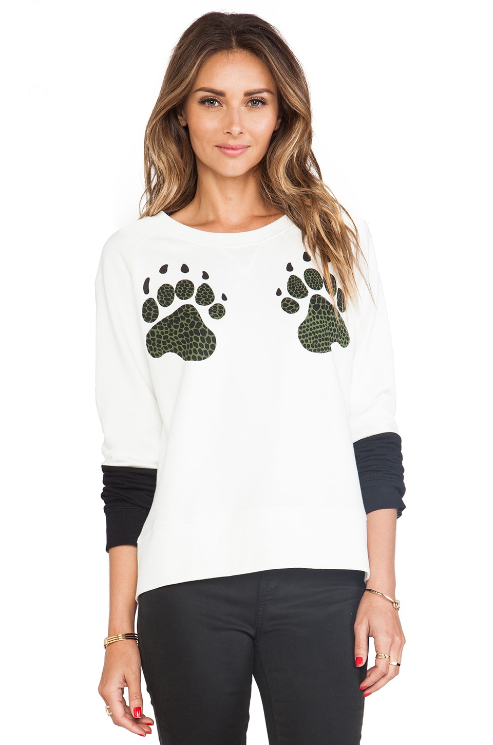 Tibi Paw Sweatshirt in Ivory Multi