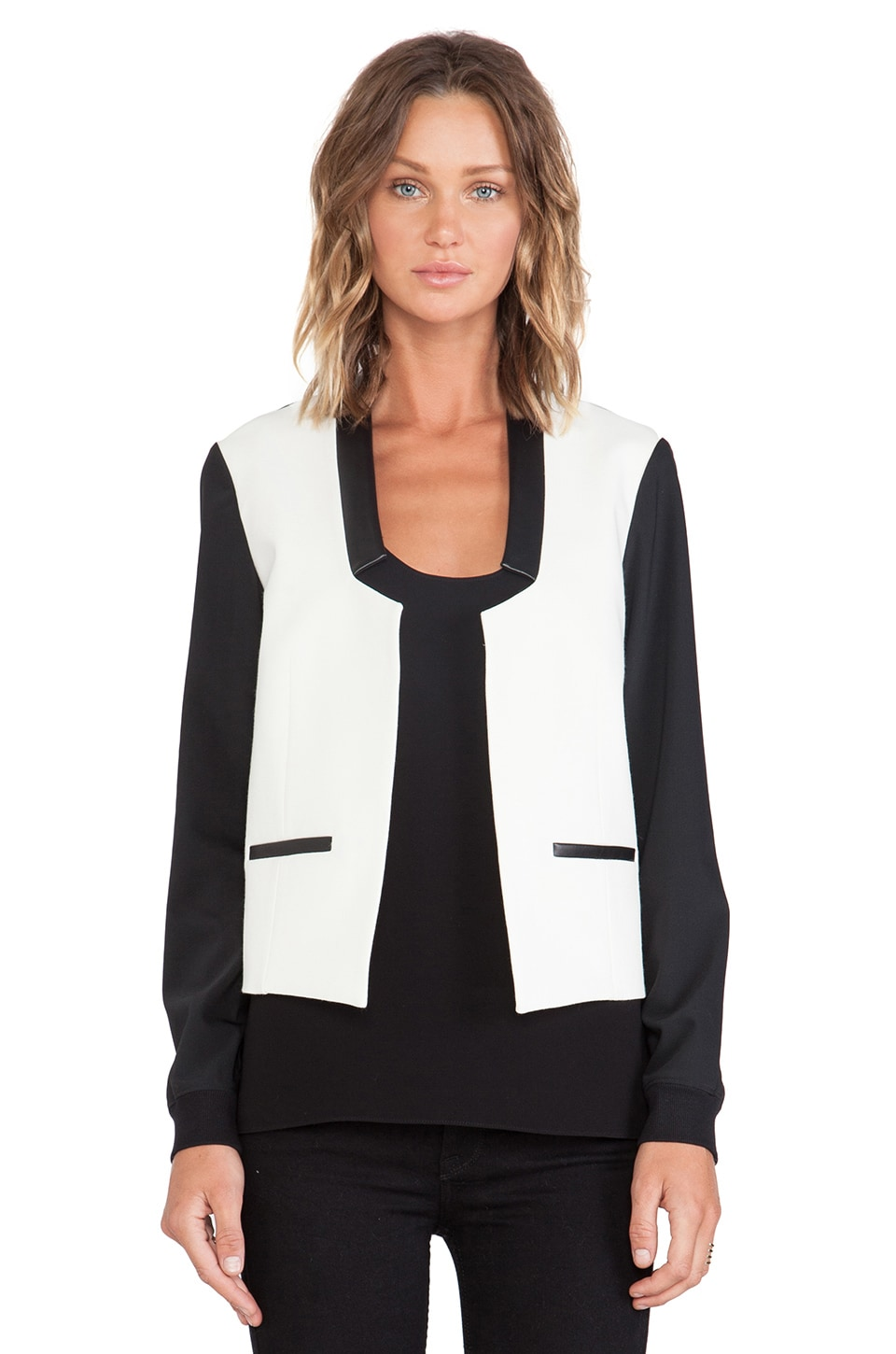 Tibi Tropical Wool Paneled Bomber in Black Multi
