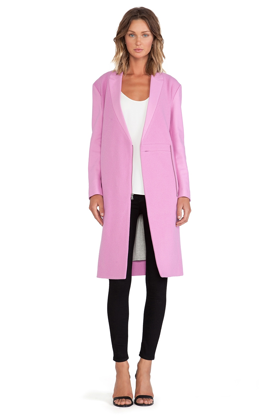 Tibi Boucle Long Coat in Pink | REVOLVE