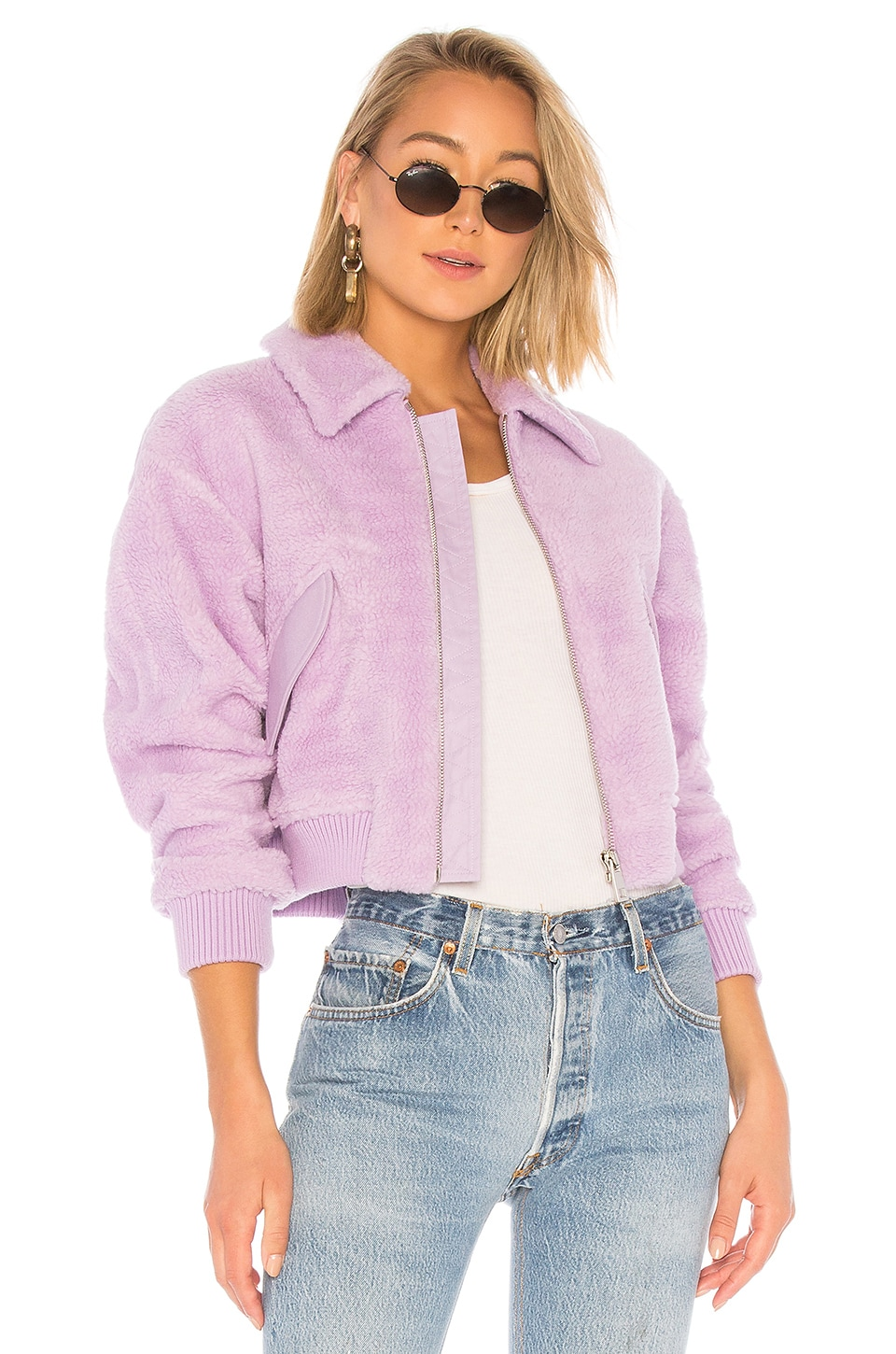Tibi Faux Shearling Gus Cropped Jacket in Lavender
