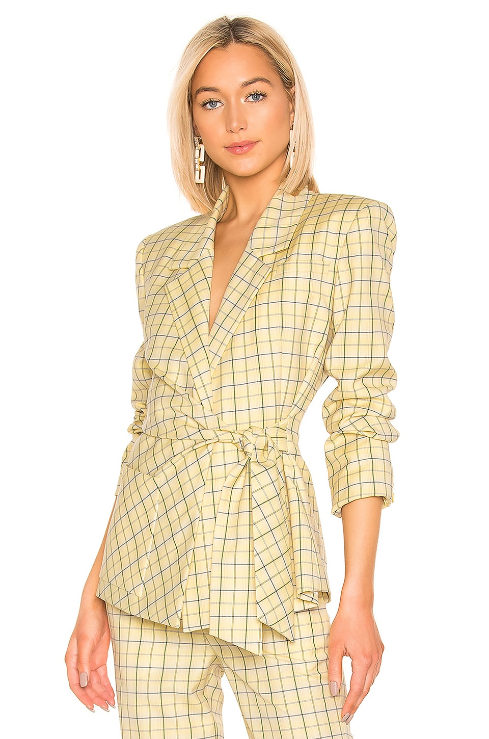 Tibi Marvel Plaid Wrap Jacket in Yellow Multi