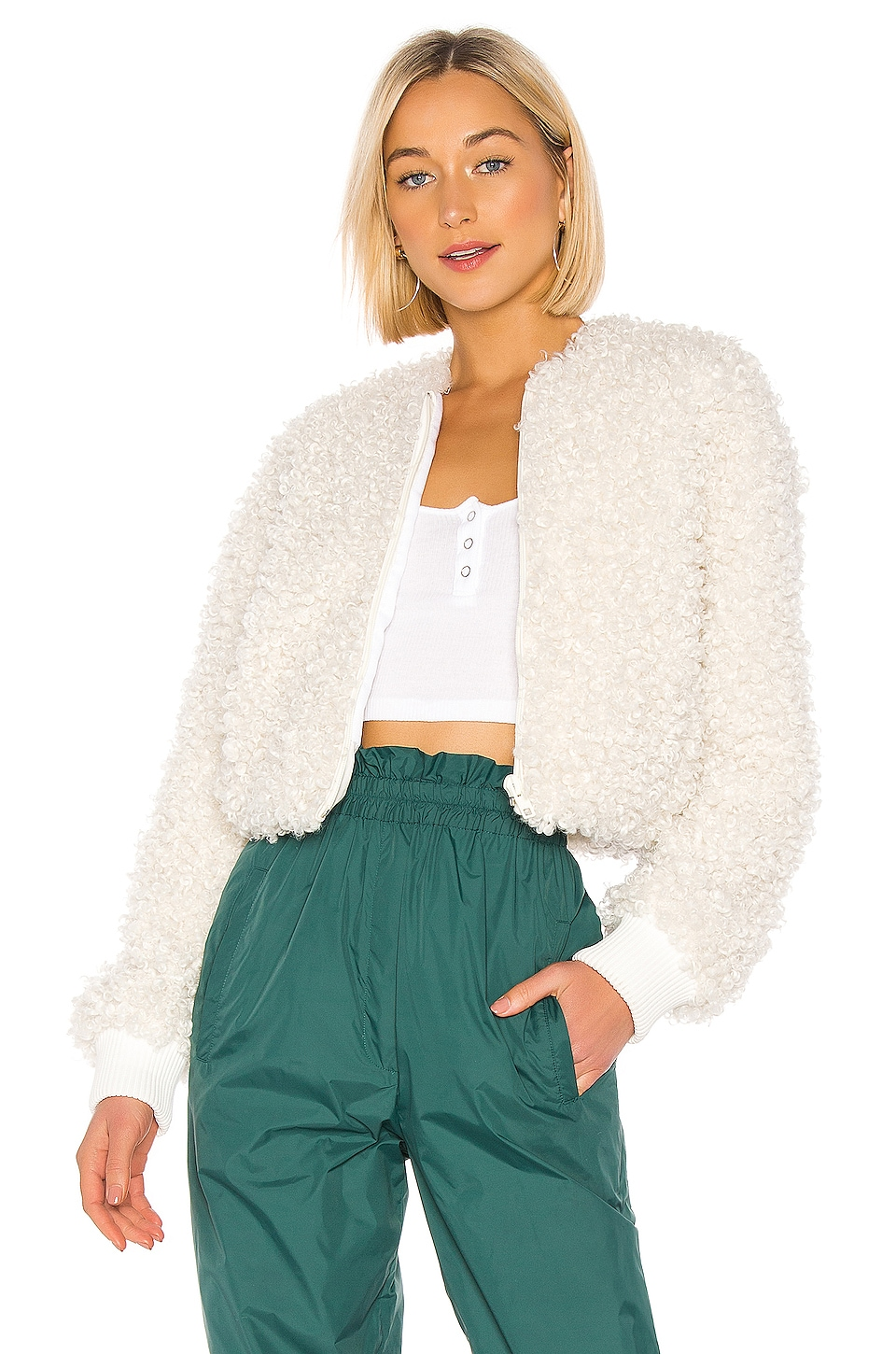 Tibi Faux Curly Lamb Cropped Bomber in Ivory