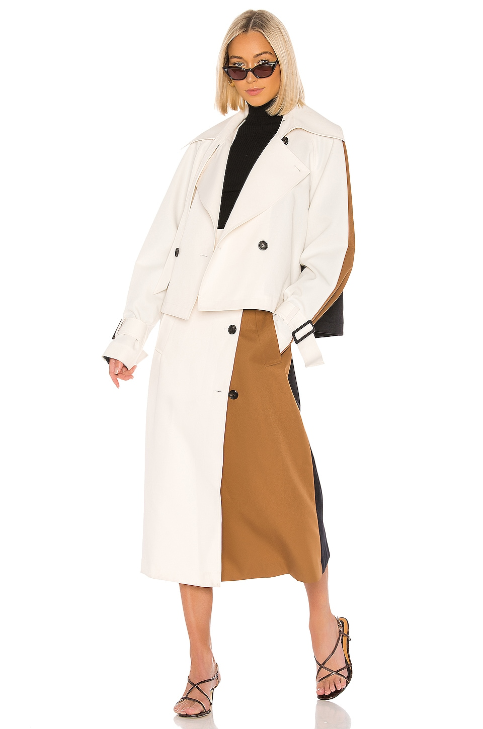 Tibi Techy Twill Color Block Detachable Trench in Ivory Multi