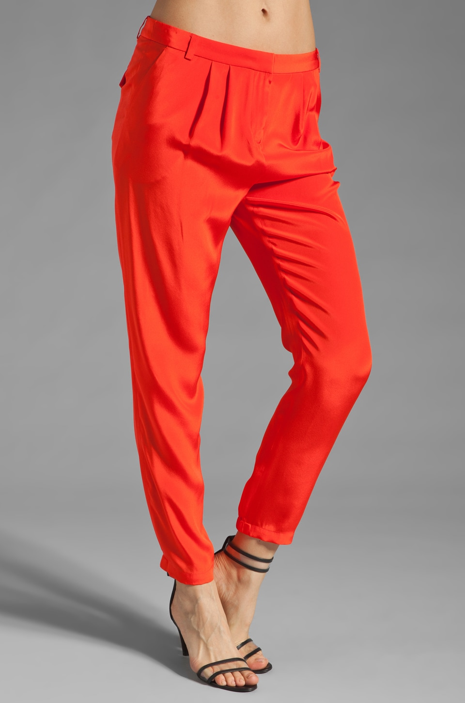 Tibi Solid Silk Pant in Deep Coral