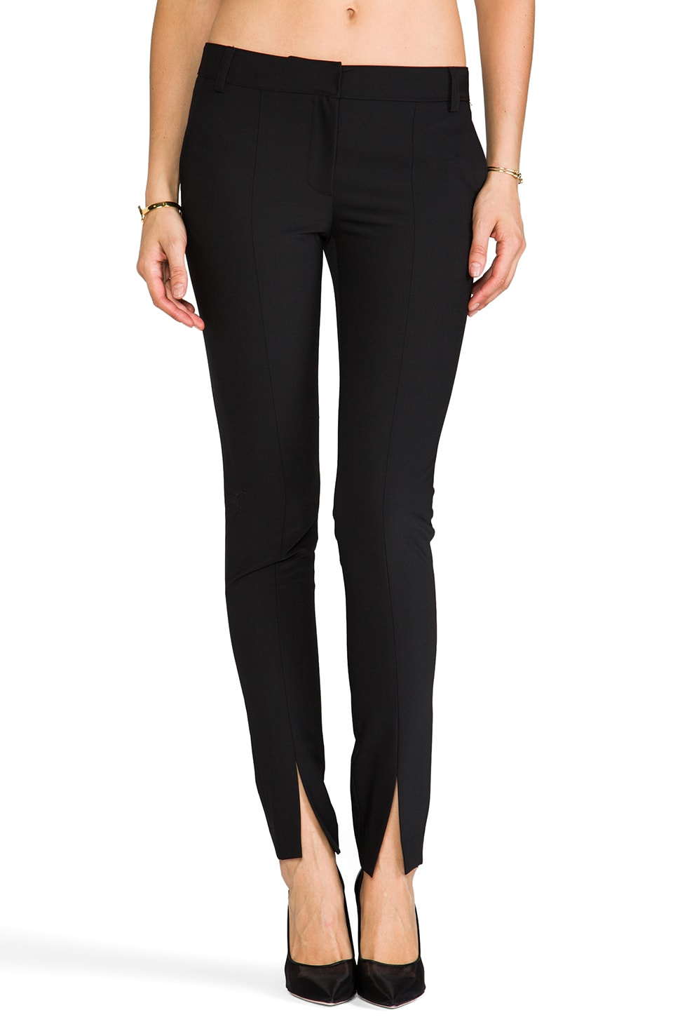 Tibi Tropical Slim Pant in Black