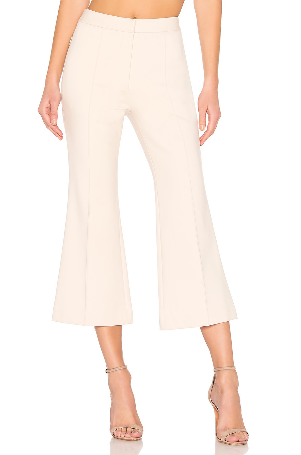 Tibi Jane Cropped Bootcut Trousers In Light Stone