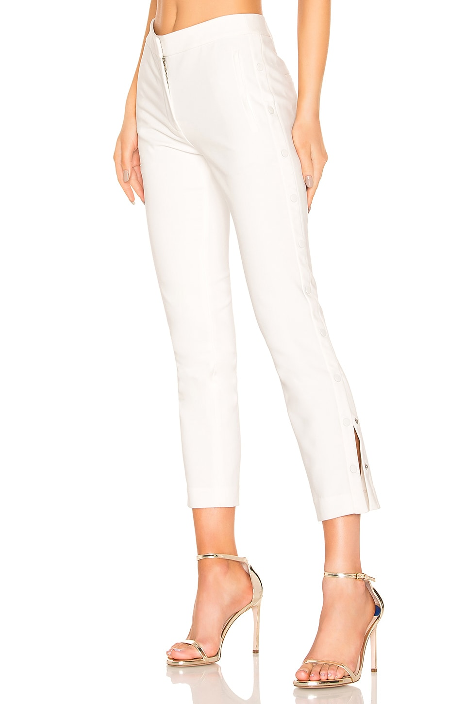 Tibi Anson Cropped Skinny Pants In Ivory