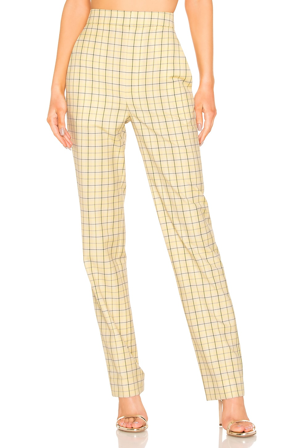 Tibi Marvel Plaid Suiting Pant in Yellow Multi