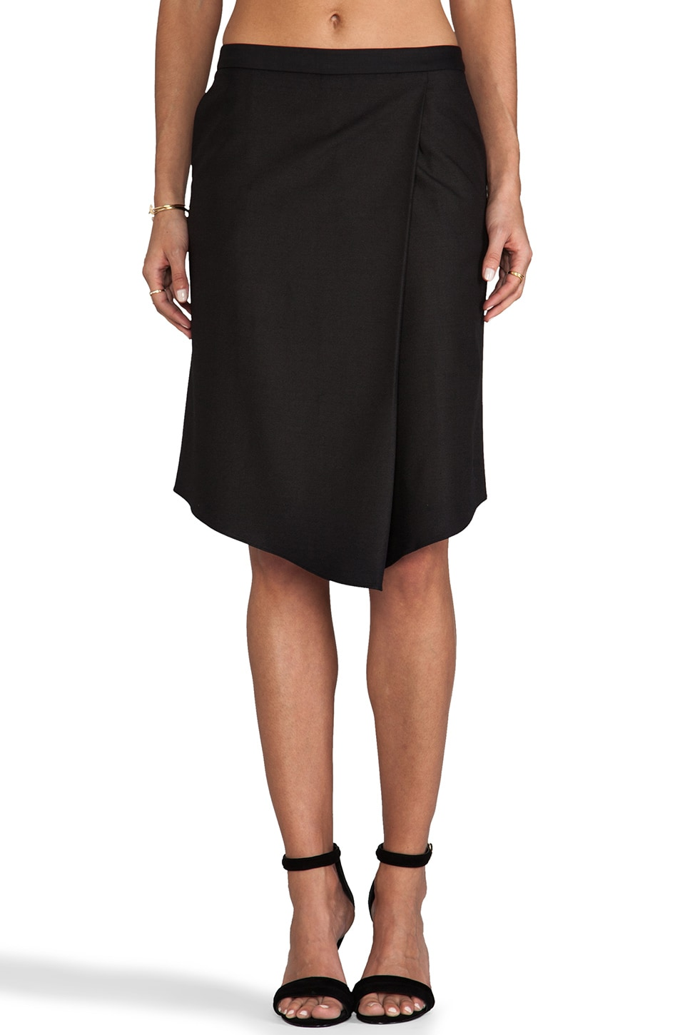 Tibi Sharkskin Suiting Draped Skirt in Black