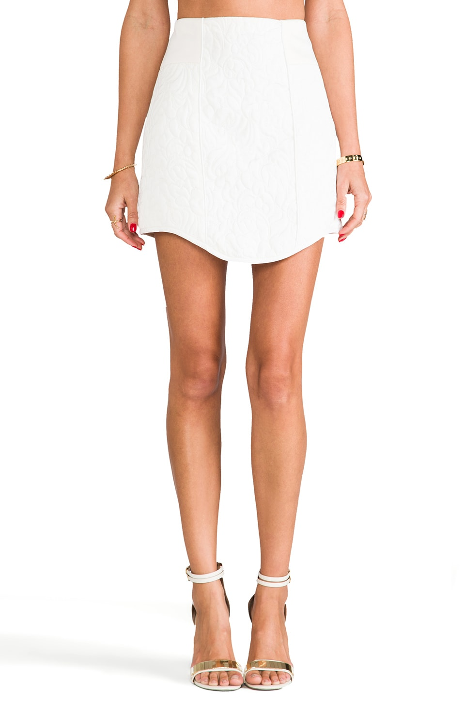 Tibi Katrin Paneled Skirt in Almond