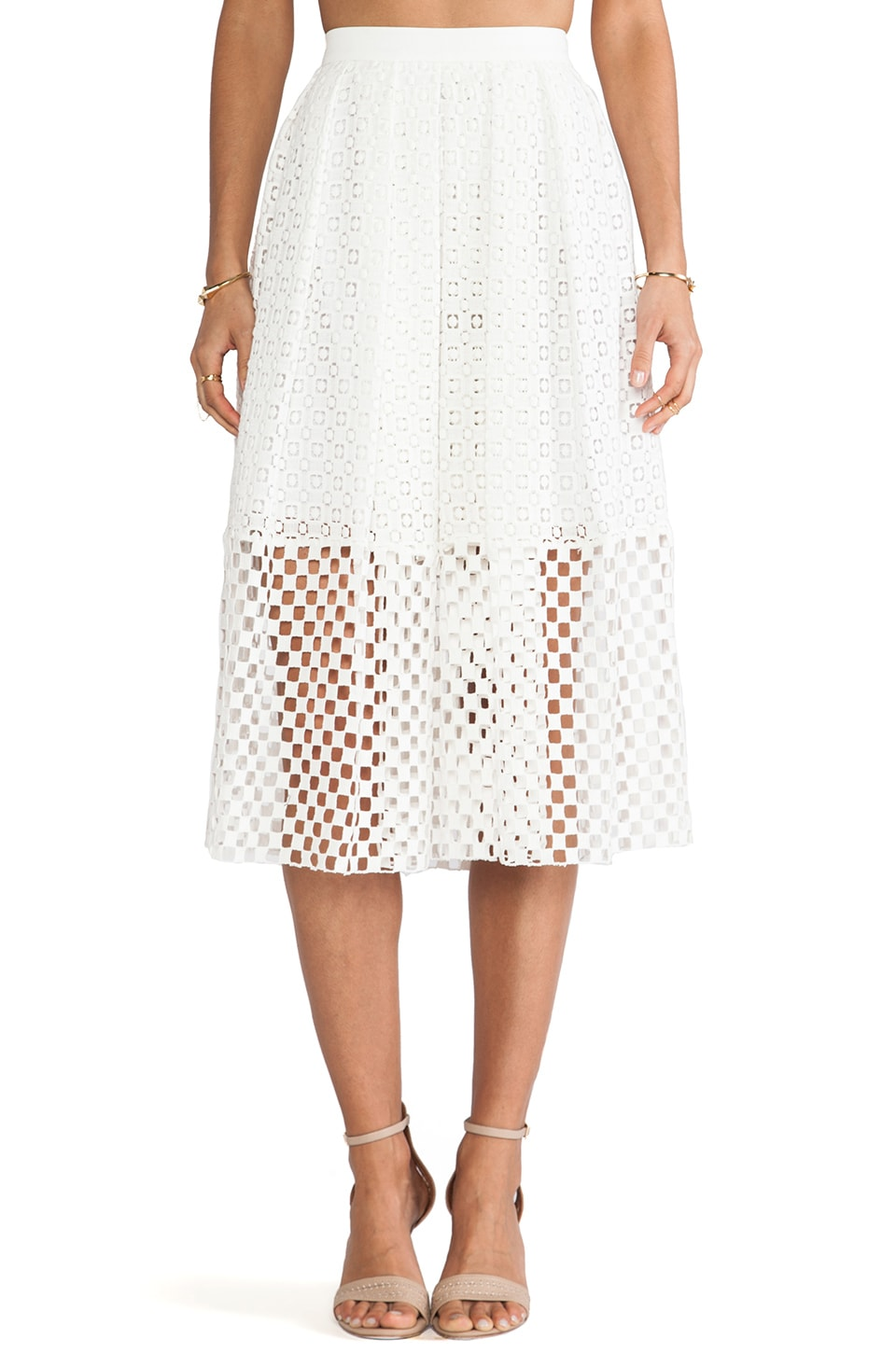 Tibi Sonoran Eyelet Skirt in Ivory Multi