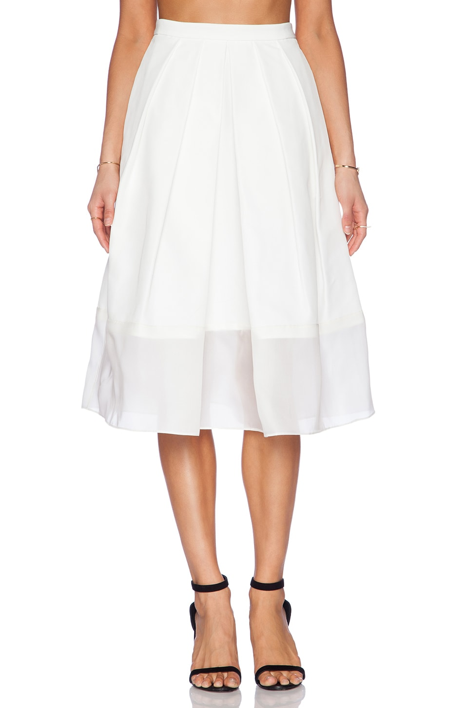 Tibi Techno Faille Pleated Skirt in Ivory