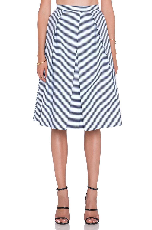 Tibi Stripe Shirting Skirt in Navy Multi