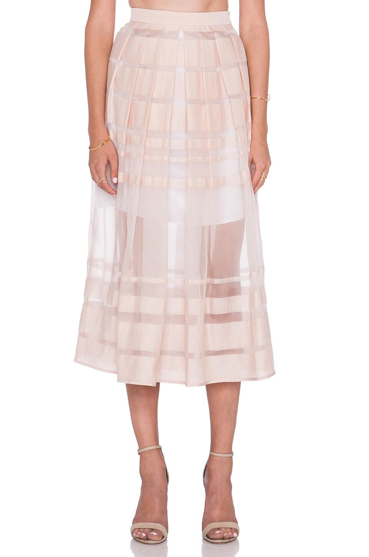 Tibi Striped Organza Skirt in Shell
