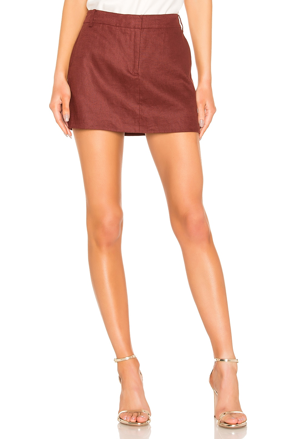 Tibi Canvas Mini Trouser Skirt in Burgundy