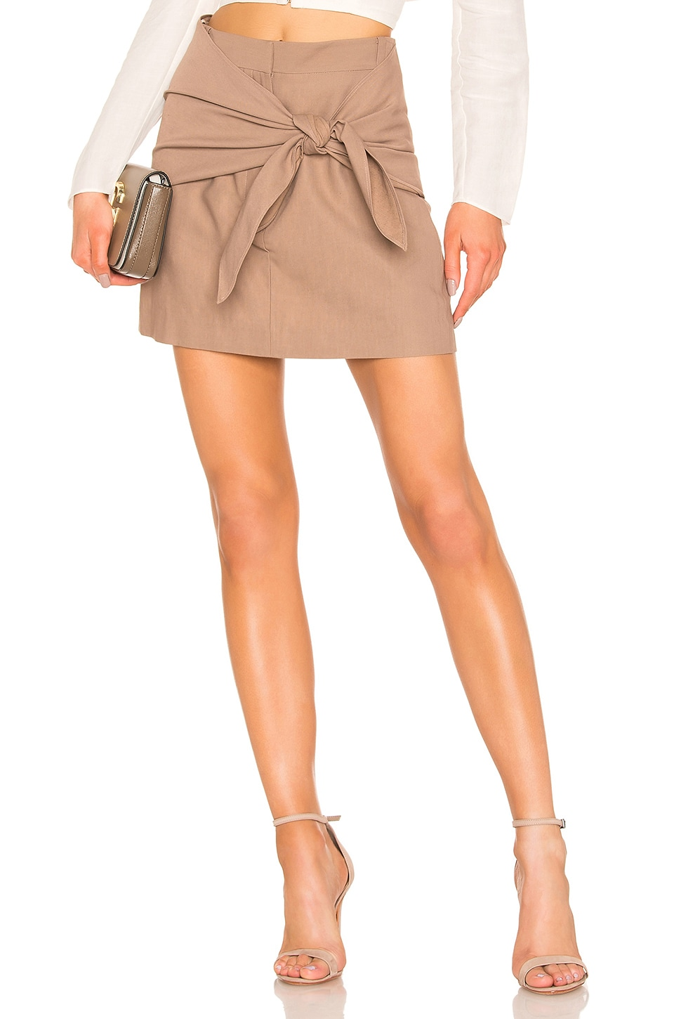 Tibi Removable Tie Mini Skirt in Sable Brown