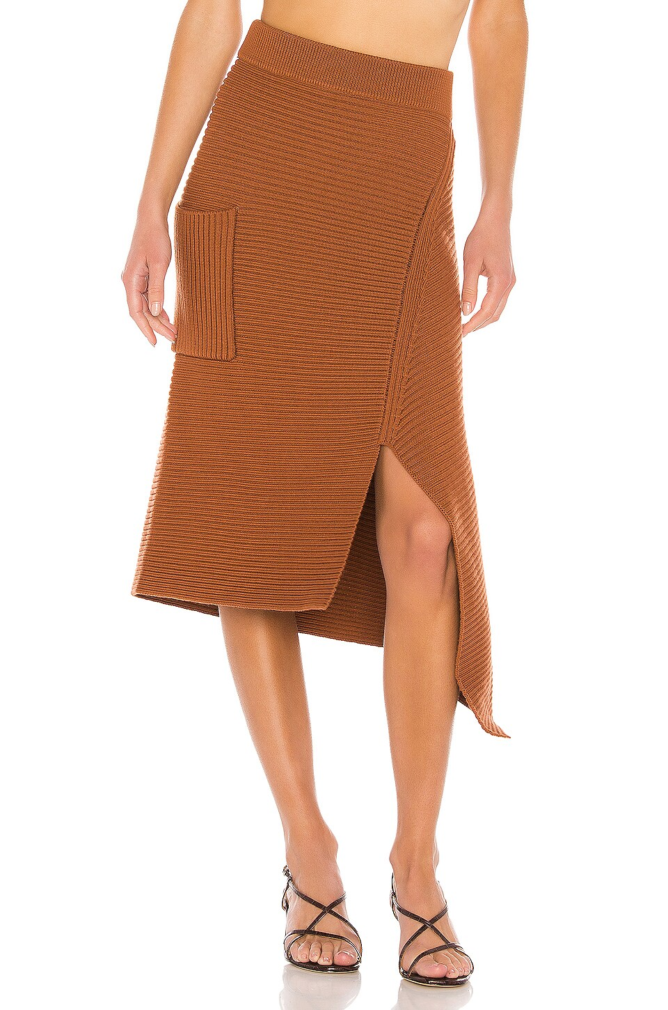 Tibi Merino Rib Sweater Origami Slit Skirt in Camel