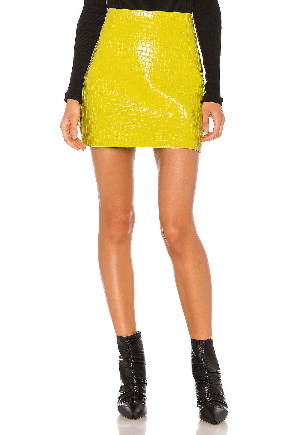 Tibi Croc Embossed Patent Mini Skirt in Yellow