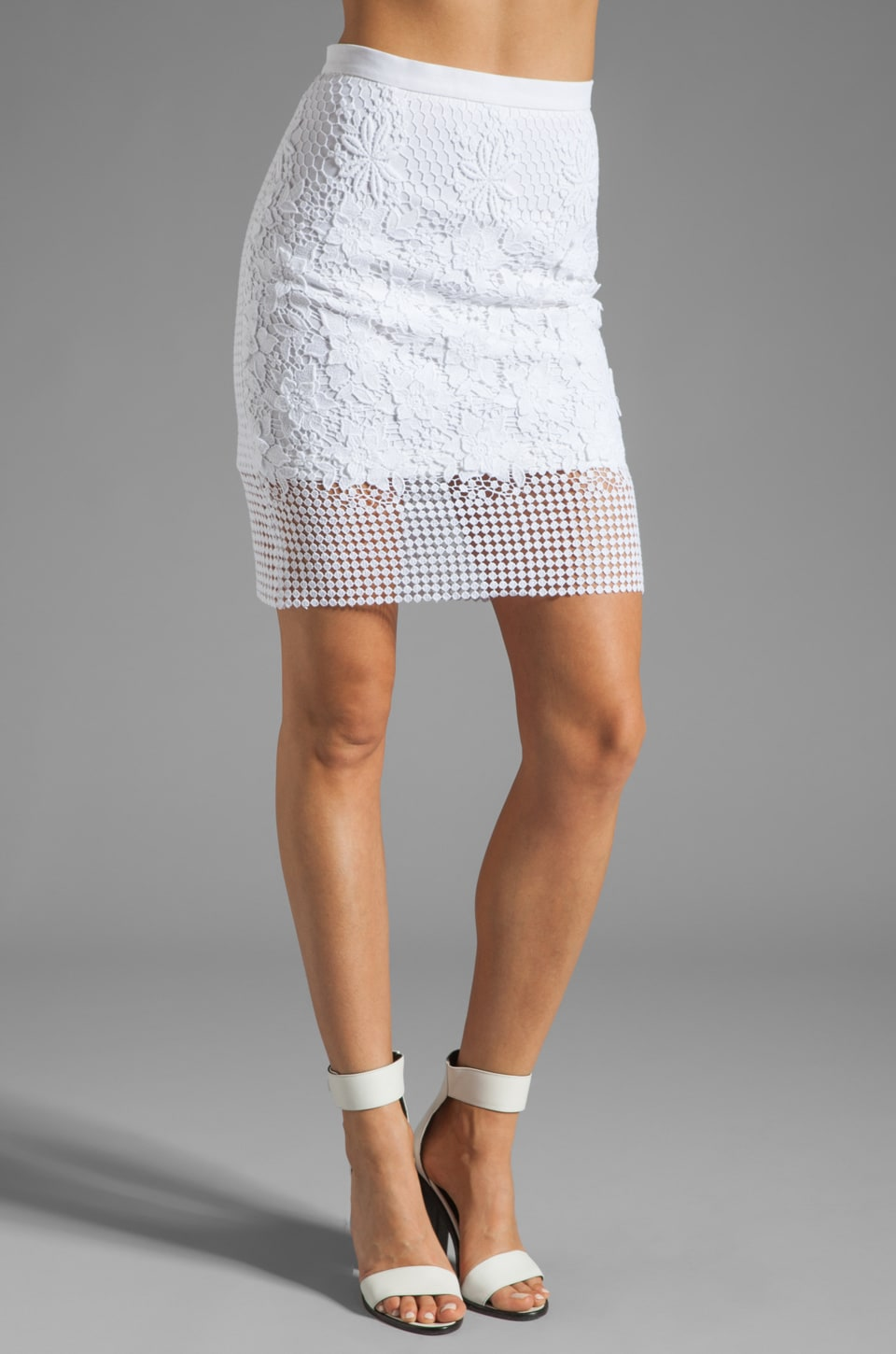 Tibi Basia Lace Pencil Skirt in White