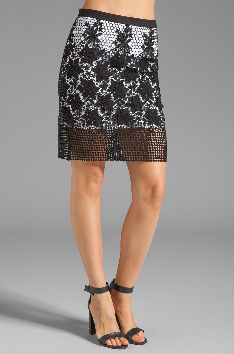 Tibi Basia Lace Pencil Skirt in Black