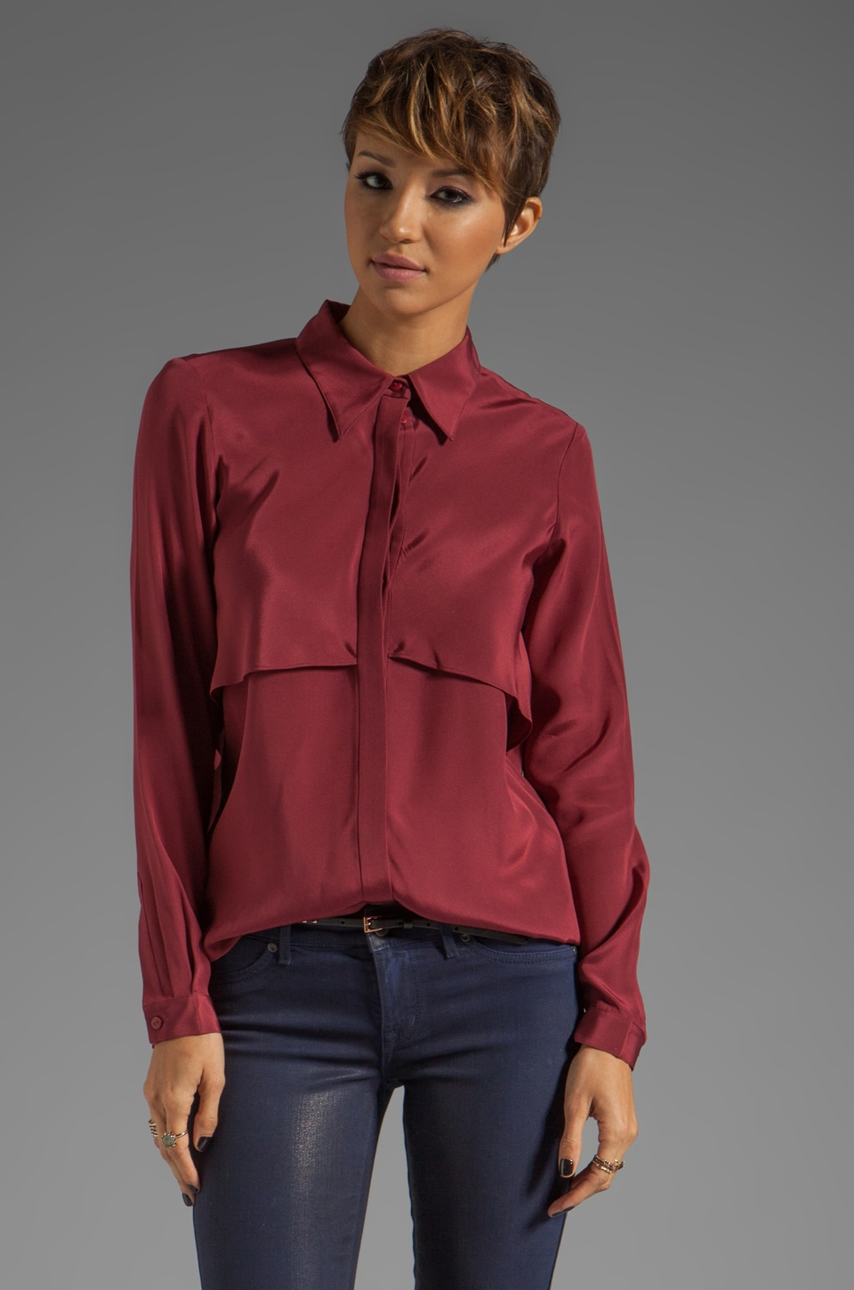 Tibi Solid Silk Drape Blouse in Cranberry