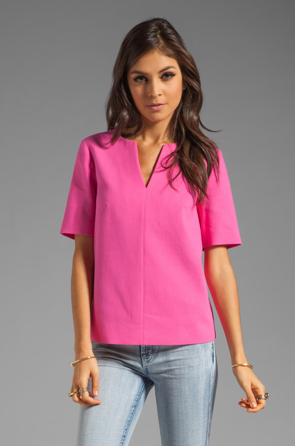 Tibi Willa Crepe Easy Top in Neon Pink