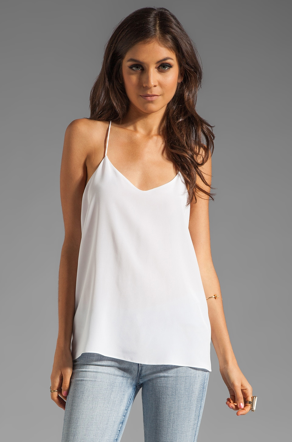 Tibi Solid Silk Cami in Ivory