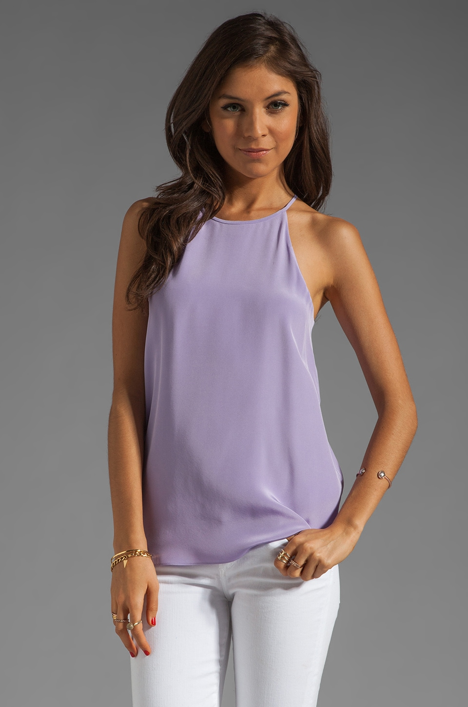 Tibi Solid Silk Halter in Dusty Lilac