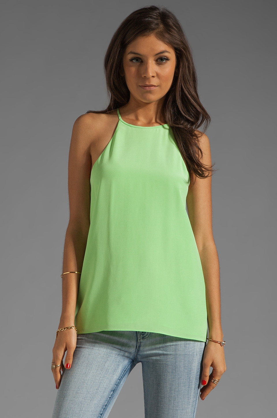 Tibi Solid Silk Halter in Neon Green