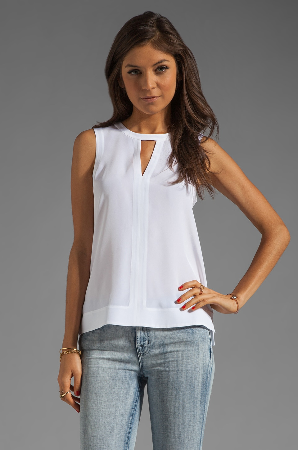 Tibi Solid Silk Splitneck Tank in White