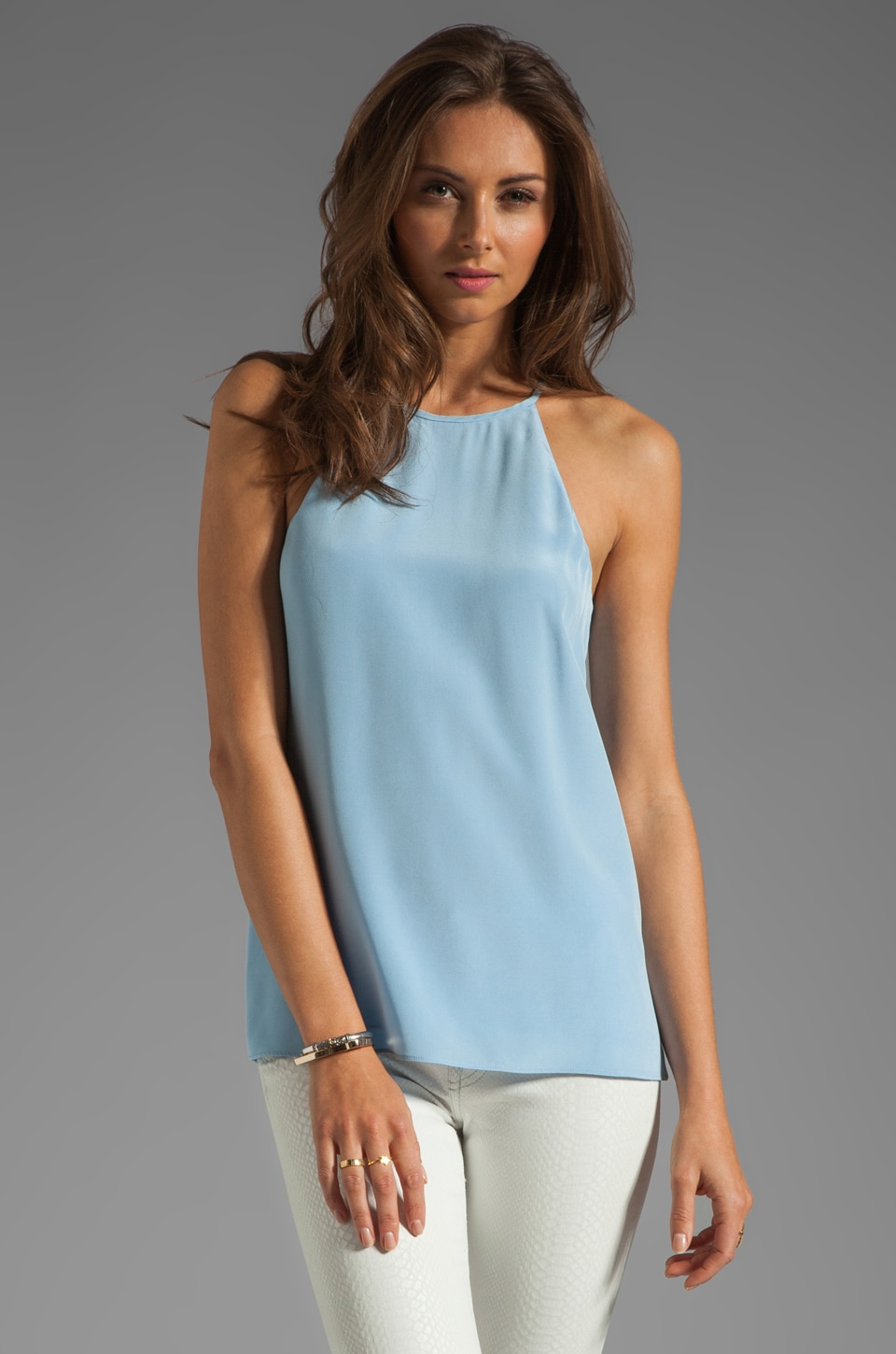 Tibi Heavy Silk Halter Cami in Baby Blue