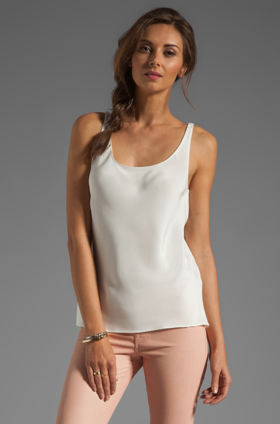 Tibi Silk Refined Scoopneck Tank in White