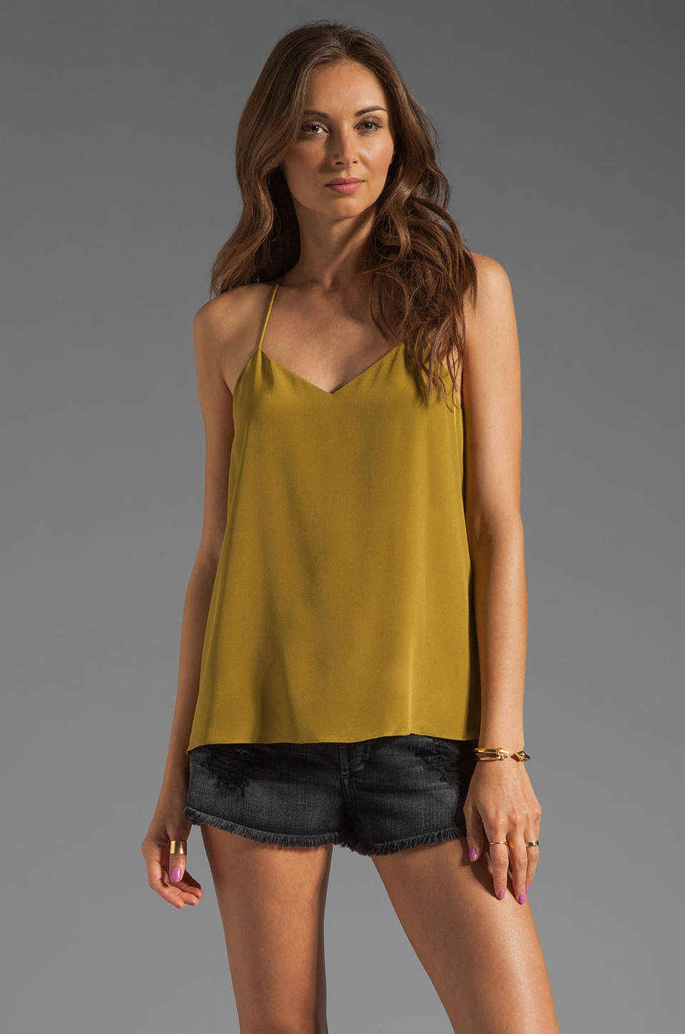 Tibi Silk Cami in Olive