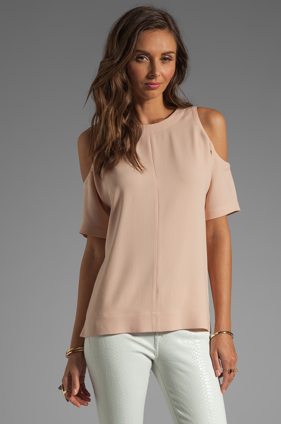 Tibi Cut Out Shoulder Top in Dark Blush