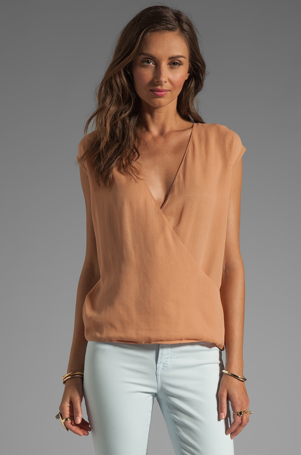 Tibi Alison Wrap Top in Au Lait