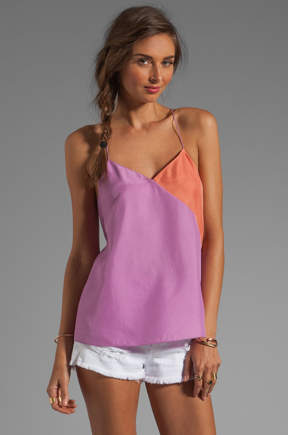 Tibi Colorblocked Silk Cami in Purple/Rouge Multi