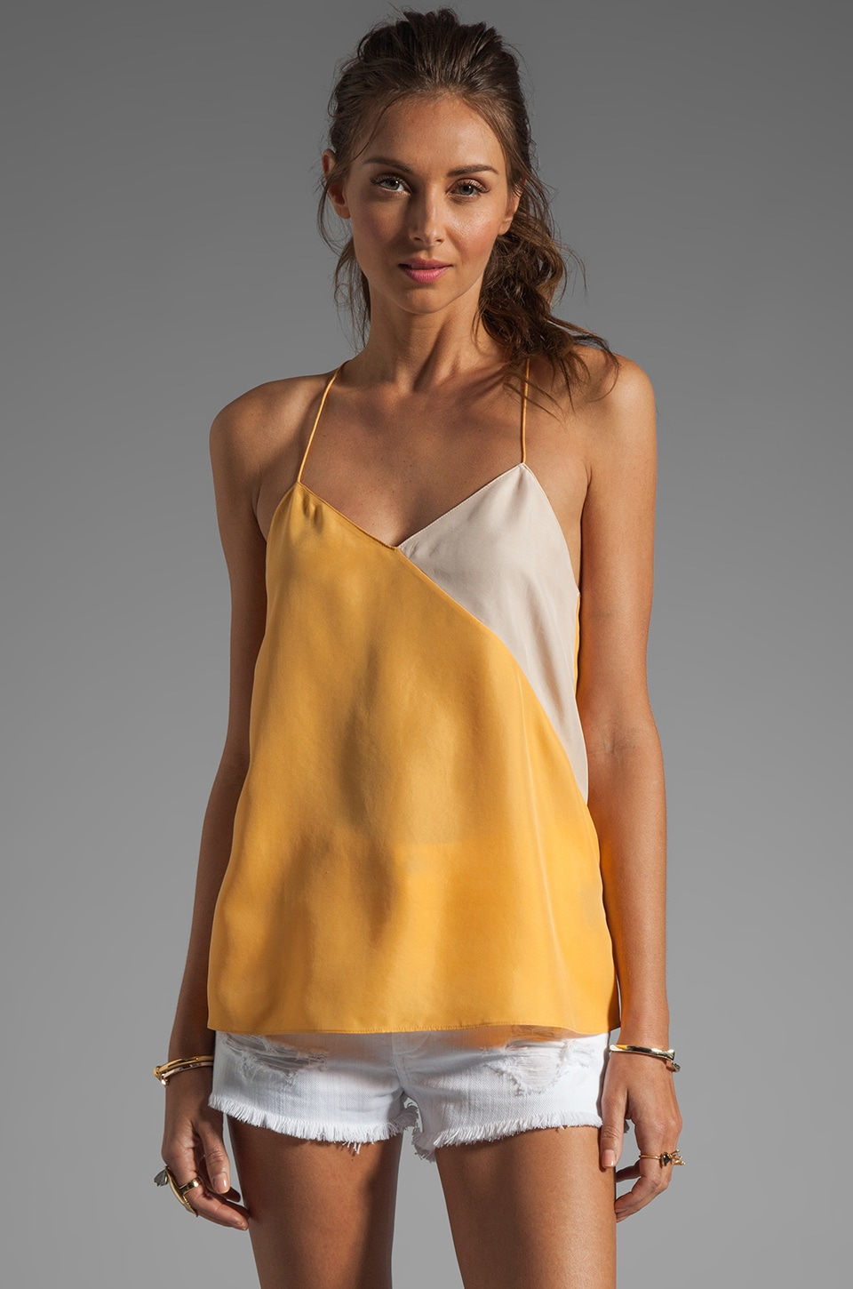 Tibi Colorblocked Silk Cami in Honey/Blush Multi