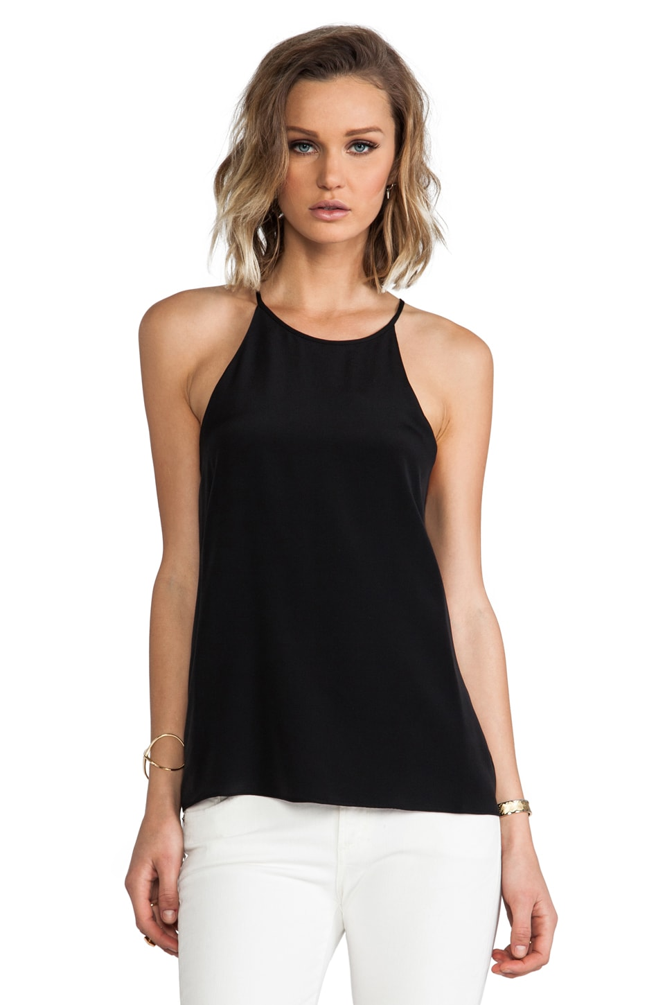 Tibi Silk Halter Cami in Black