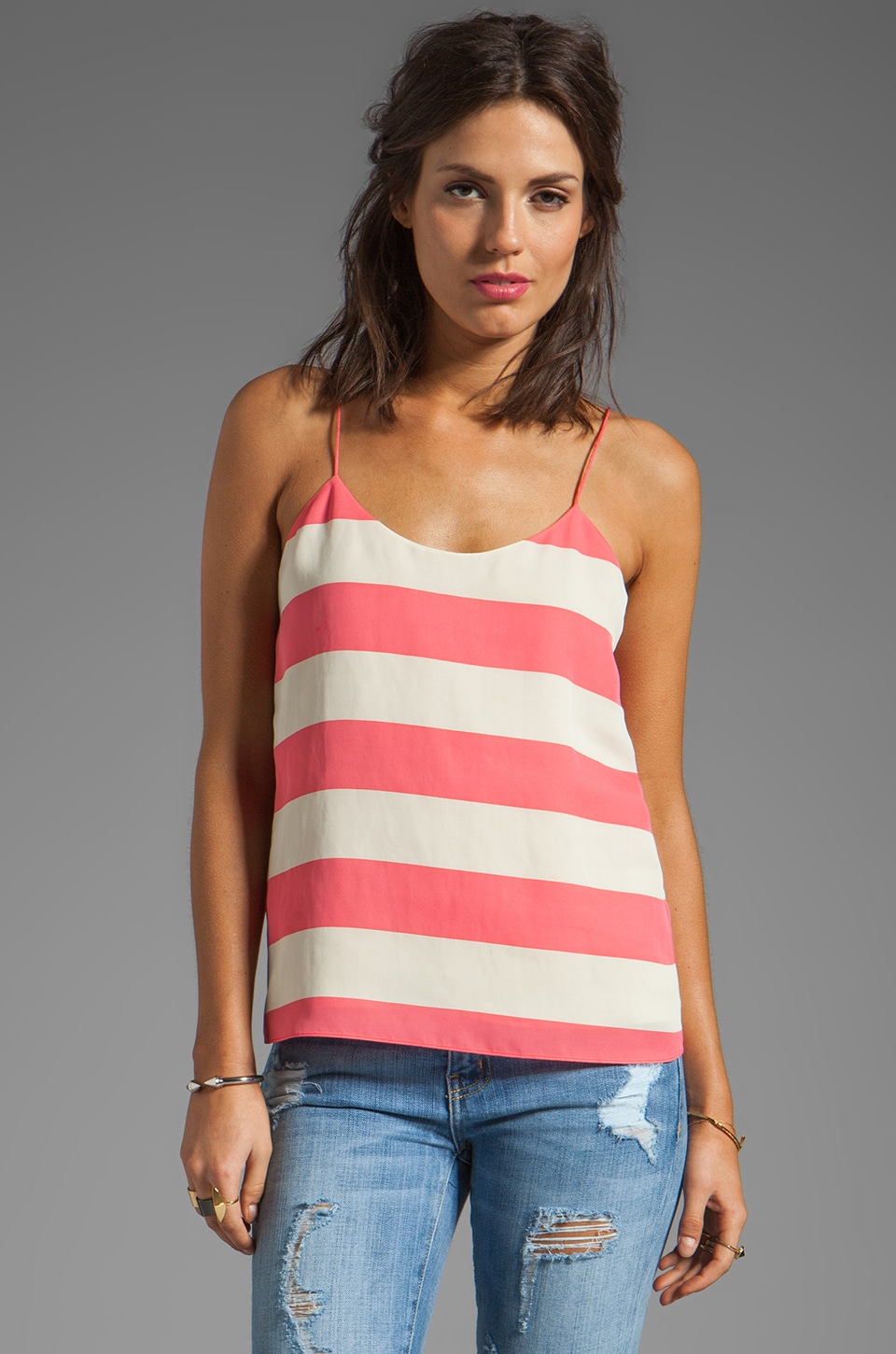 Tibi Striped Cami in Calypso Red/Tan Multi