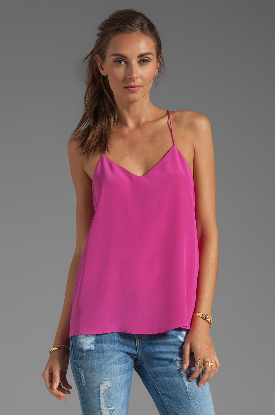 Tibi Silk Cami in Magenta